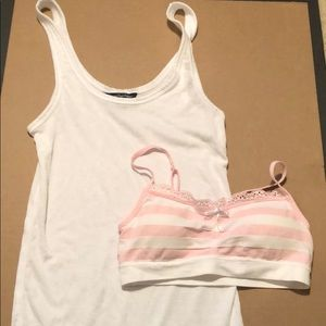 American Eagle white tank top and sports bra